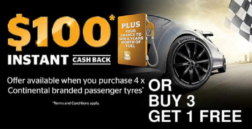 tyres special $100 cashback